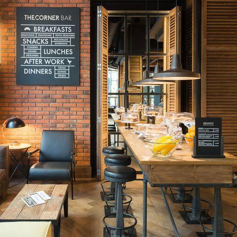 Table, Furniture, Hardwood, Brick, Restaurant, Stool, Brickwork, Barware, Plywood, Coffeehouse,