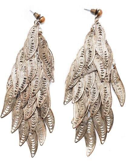 Botany, Natural material, Earrings, Wing, Silver, Feather,