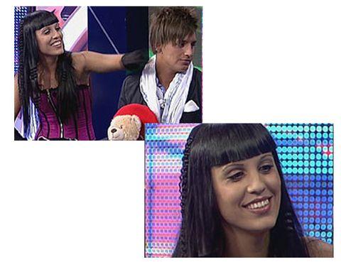 Head, Hairstyle, Eyebrow, Facial expression, Style, Eyelash, Interaction, Black hair, Tooth, Long hair,