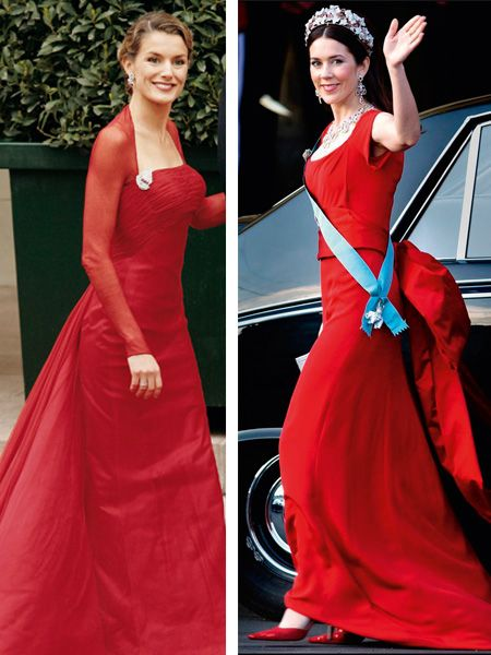 Clothing, Dress, Hairstyle, Shoulder, Red, Formal wear, Gown, Style, One-piece garment, Fashion accessory,