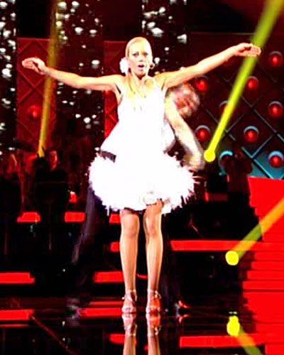Dress, Entertainment, Fashion, Fashion model, Thigh, High heels, Public event, Stage, Model, One-piece garment,