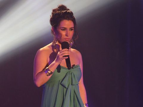 Microphone, Audio equipment, Dress, Music artist, Fashion accessory, Singing, Jewellery, Singer, Day dress, Song,