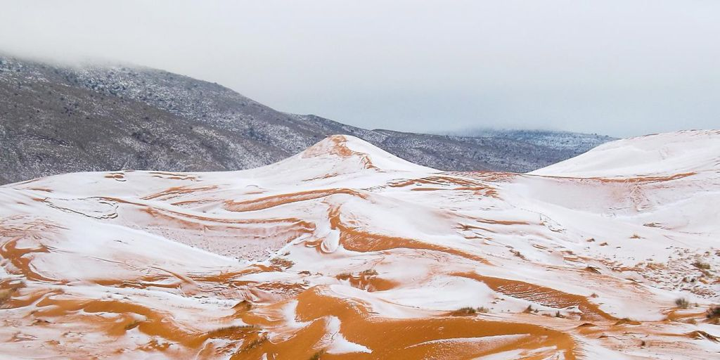 Ha nevado en el desierto del Sáhara