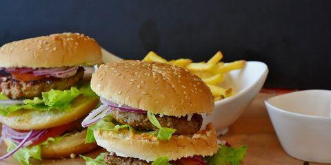 Dish, Food, Hamburger, Junk food, Fast food, Cuisine, Veggie burger, Ingredient, Original chicken sandwich, Breakfast sandwich,