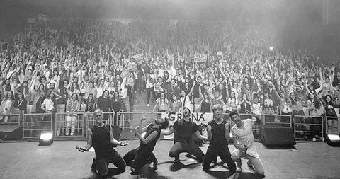 People, Crowd, Social group, Audience, Fan, Monochrome, Cheering, Stadium, Crew, Music venue,