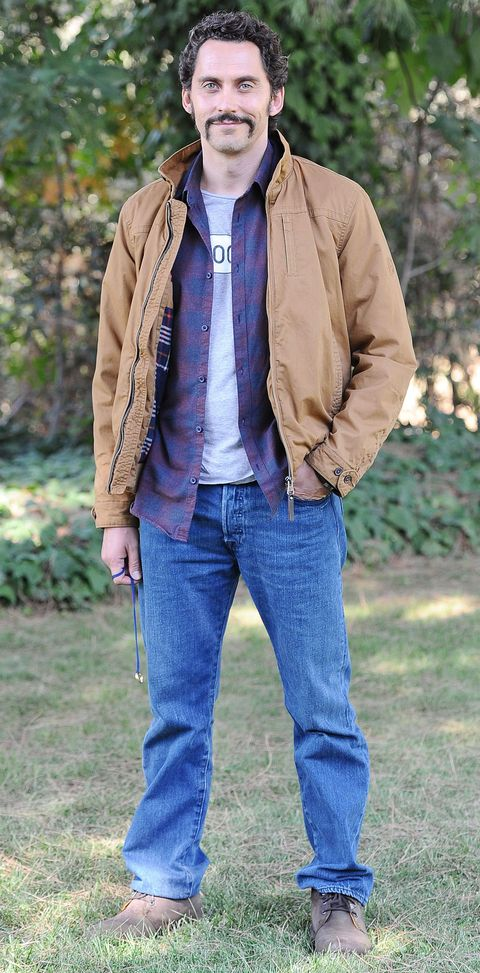 Clothing, Brown, Denim, Sleeve, Trousers, Jacket, Jeans, Textile, Collar, Pocket,