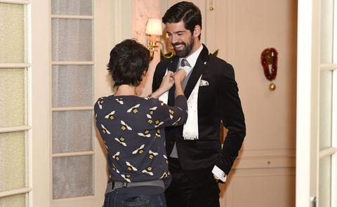 Formal wear, Suit, Event, Tuxedo, Interaction, Ceremony, Dress, Romance, Wedding, Outerwear,