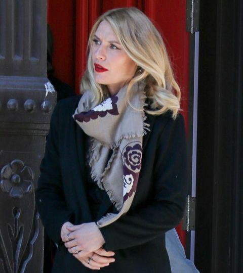 Clothing, Blond, Fashion, Long hair, Outerwear, Scarf, Lip, Fashion accessory, Blazer, Jacket,