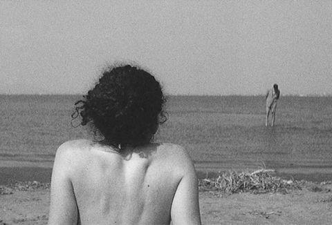 White, Photograph, Black, Black-and-white, Monochrome photography, Standing, Beach, Monochrome, Sea, Snapshot,