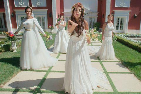Gown, Wedding dress, Dress, Clothing, Bridal clothing, Bride, Shoulder, Photograph, Bridal accessory, Bridal party dress,