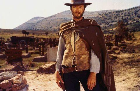 Outerwear, Gunfighter, Headgear, Landscape, Jacket, Cowboy hat, Leather jacket,