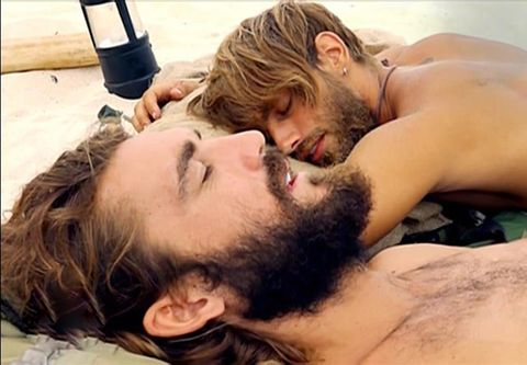Facial hair, Barechested, Romance, Mouth, Interaction, Neck, Beard, Love, Muscle, Throat,