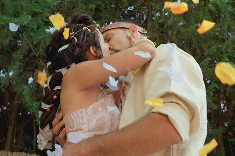Yellow, Botany, Interaction, Romance, Ceremony, Love, Photography, Wedding, Bride, Hug,