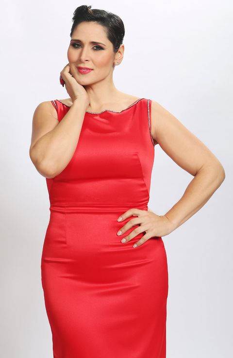 Clothing, Hairstyle, Dress, Sleeve, Shoulder, Joint, Standing, Red, Style, One-piece garment,
