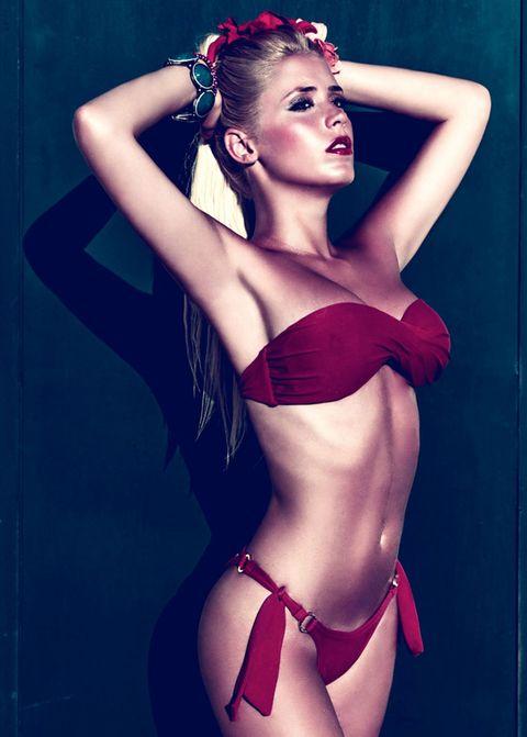 Lip, Hairstyle, Shoulder, Joint, Brassiere, Red, Waist, Undergarment, Abdomen, Lingerie,