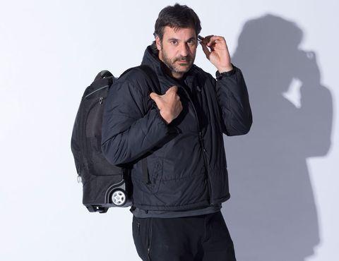 Jacket, Sleeve, Collar, Shoulder, Standing, Outerwear, Bag, Pocket, Facial hair, Zipper,