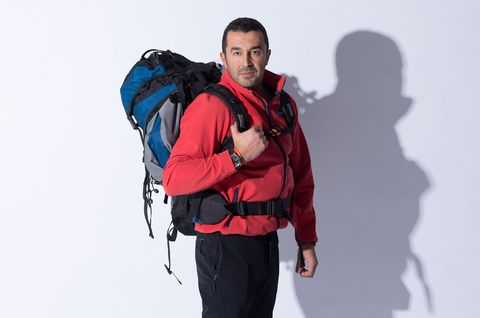 Shoulder, Standing, Joint, Bag, Luggage and bags, Adventure, Electric blue, Backpack, Backpacking, Strap,