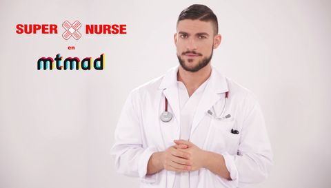 White coat, Collar, Sleeve, Dress shirt, Logo, Uniform, Service, Facial hair, Stethoscope, Job,