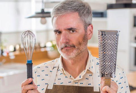 Finger, Facial hair, Beard, Moustache, Kitchen utensil, Tool, Whisk, Net,