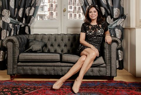 Clothing, Red, Beauty, Leg, Sitting, Dress, Fashion, Furniture, Photo shoot, Couch,