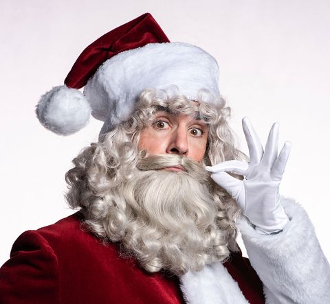 Facial hair, Santa claus, Beard, Costume hat, Fictional character, Costume accessory, Costume, Christmas, Gesture, Moustache,