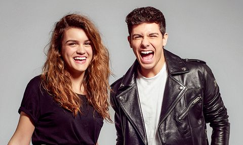 Hair, Facial expression, Smile, Hairstyle, Fun, Fashion, Leather, Leather jacket, Human, Cool,