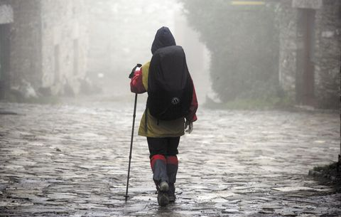 Atmospheric phenomenon, Mist, Haze, Bag, Backpack, Luggage and bags, Fog, Adventure, Back, Walking stick,