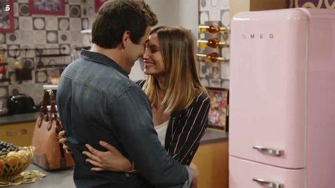 Interaction, Refrigerator, Major appliance, Kiss, Long hair, Kitchen appliance,