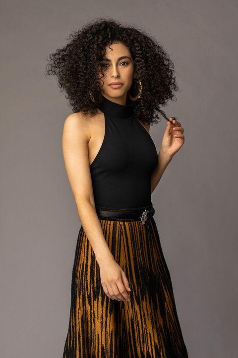 Hair, Black, Clothing, Photo shoot, Shoulder, Dress, Long hair, Beauty, Fashion, Black hair,