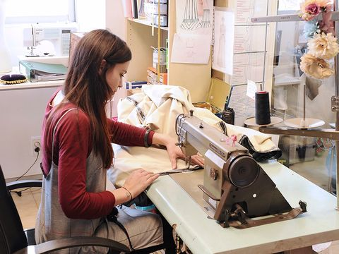 Dressmaker, Tailor, Sewing machine, Textile, Art, Employment, Fashion design, Sewing, Machine,