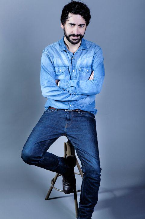 Denim, Jeans, Blue, Clothing, Sitting, Standing, Fashion model, Cool, Chin, Dress shirt,