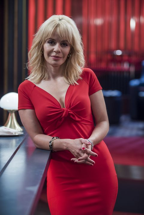 Clothing, Dress, Shoulder, Joint, Red, Bangs, Fashion accessory, Cocktail dress, Day dress, Blond,