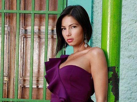 Green, Beauty, Model, Photo shoot, Purple, Shoulder, Black hair, Lip, Photography, Dress,