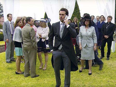 Footwear, Trousers, Coat, Suit, Outerwear, Formal wear, Dress, Suit trousers, Ceremony, Blazer,