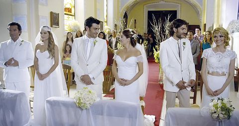 Bridal clothing, Event, Trousers, Tablecloth, Dress, Petal, Coat, Photograph, Suit, Outerwear,