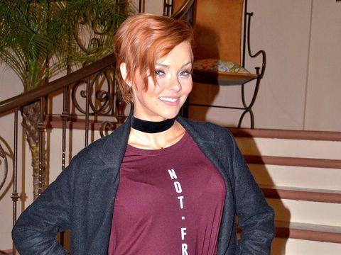Collar, Jacket, Red hair, Makeover, Houseplant, Hair coloring, Shelf, Earrings,