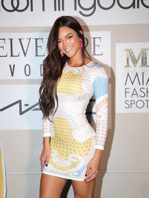 Clothing, Shoulder, Fashion, Dress, Neck, Yellow, Beauty, Fashion model, Leg, Cocktail dress,