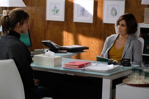 Employment, Job, White-collar worker, Furniture, Office, Sitting, Conversation, Interior design, Desk, Businessperson,