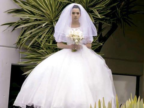 Wedding dress, Bride, Gown, Dress, Bridal clothing, Bridal accessory, Clothing, Bridal veil, Photograph, White,
