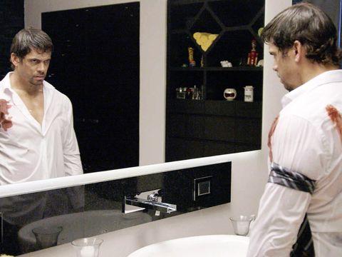 Plumbing fixture, Bathroom sink, Tap, Sink, Plumbing, Mirror, Bathroom accessory, Composite material, Service, Bathroom,