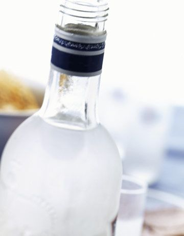 close up of an open bottle of vodka