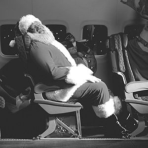 santa claus on a plane