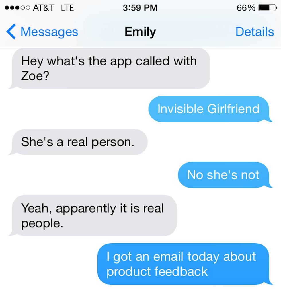 FAY: Virtual texting girlfriend