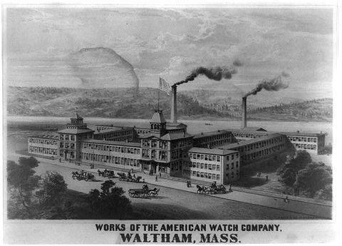 The first American watch companies, like Waltham Watch Company, Elgin National Watch Company, and E. Howard & Co., are established near Boston and in Illinois.