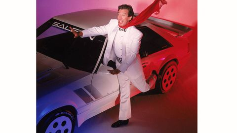 Actor Tim Allen poses with a Saleen Mustang December 3, 1993 during a portrait session in Los Angeles. Allen has stated that racing cars is his other passion in life besides acting. (Photo by Jeff Katz/Getty Images)