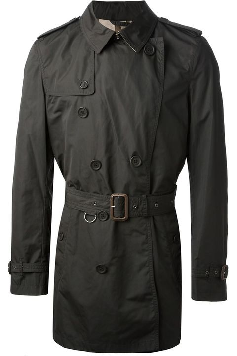 "The classic Burberry trench, redefined in black, with a tailored contemporary cut and a cropped silhouette, is something that will flatter any body type and complement every single thing in your wardrobe. It's also got a treated polyester-polyamide shell ensures, which ensures this thing will never leak.  <em>Mid-length trench coat ($763.27) by Burberry Brit, <a href=""http://www.farfetch.com/shopping/men/burberry-brit-mid-length-trench-coat-item-10623596.aspx?storeid=9258&amp;ffref=lp_4_"" target=""_blank"">farfetch.com</a></em>"