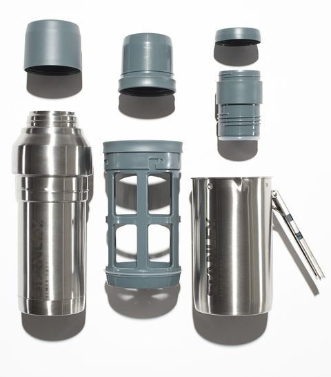 Stanley's Mountain Coffee System ($50) is a complete coffeemaking kit nested around a thermos that keeps drinks hot for up to twenty-four hours. The cap stores enough freshly ground coffee for two cups.