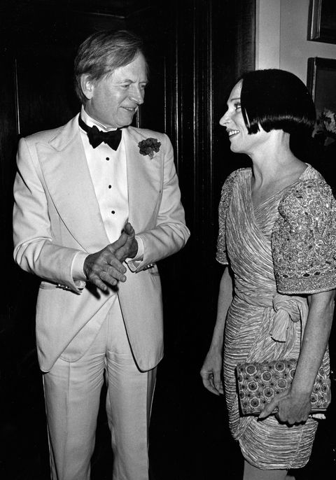 NEW YORK CITY - NOVEMBER 12:  Author Tom Wolfe and fashion designer Mary McFadden attends Esquire Magazine Register Honorees Party on November 13, 1982 at the Metropolitan Museum of Art in New York City. (Photo by Ron Galella/WireImage)