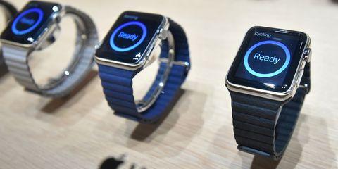 Blue, Watch, Watch accessory, Font, Electric blue, Azure, Cobalt blue, Brand, Metal, Number,