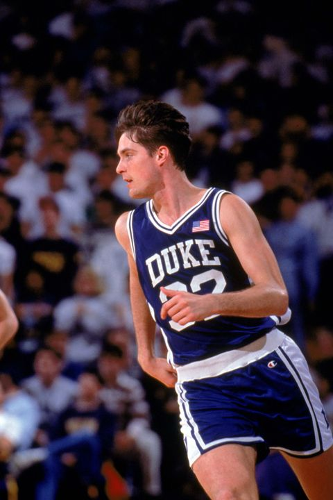 1990:  Christian Laettner #32 of the Duke University Blue Devils runs on the court during a game in the 1990-1991 NCAA season.  (Photo by Brian Spurlock/Getty Images)